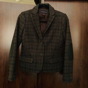 Banana Republic Green Tweed Leather & Wool Blazer